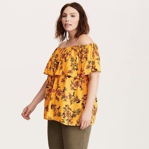 Yellow off the shoulder flutter top